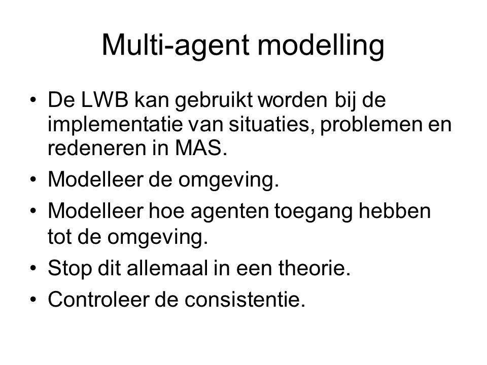 Multi-agent modelling De LWB kan gebruikt worden bij de implementatie van situaties, problemen en redeneren in MAS. Modelleer de omgeving. Modelleer h