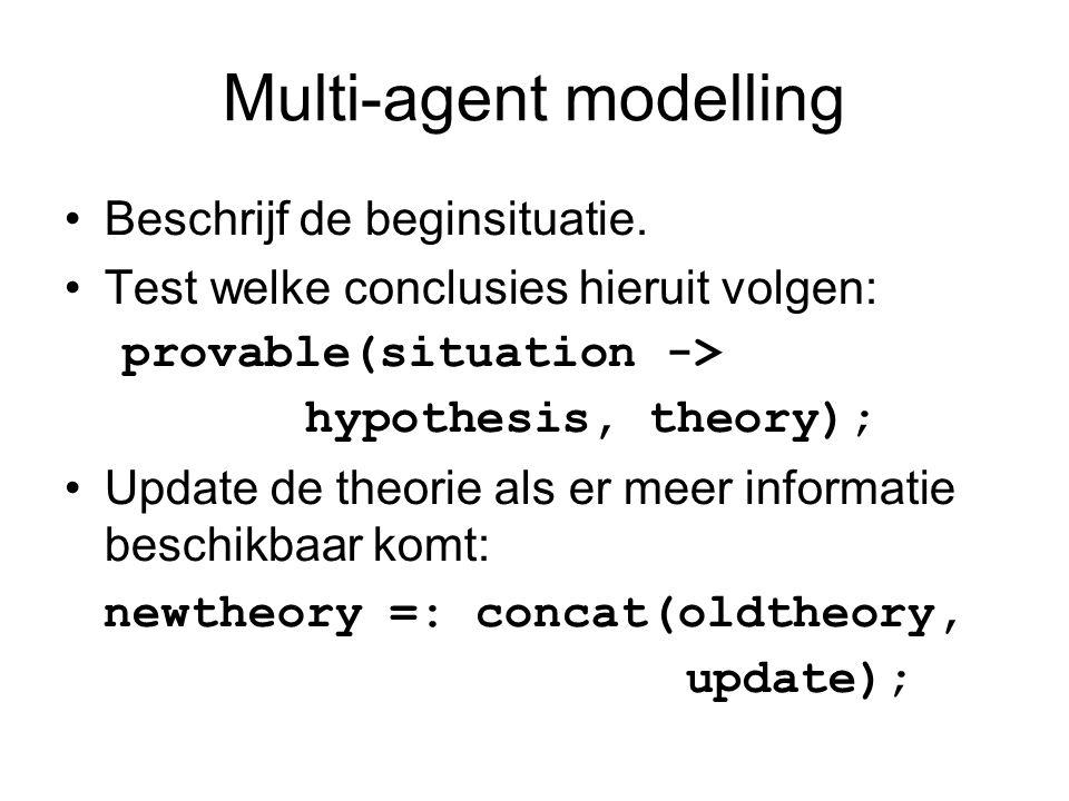 Multi-agent modelling Beschrijf de beginsituatie. Test welke conclusies hieruit volgen: provable(situation -> hypothesis, theory); Update de theorie a