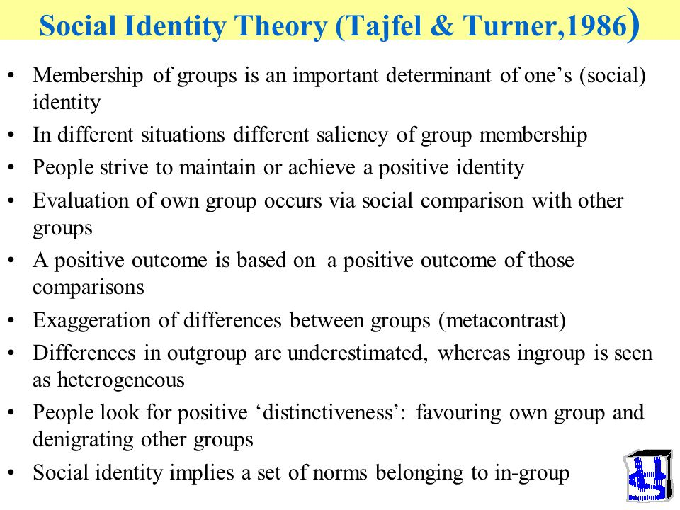 Social Identity Theory (Tajfel & Turner,1986 ) Membership of groups is an important determinant of one's (social) identity In different situations different saliency of group membership People strive to maintain or achieve a positive identity Evaluation of own group occurs via social comparison with other groups A positive outcome is based on a positive outcome of those comparisons Exaggeration of differences between groups (metacontrast) Differences in outgroup are underestimated, whereas ingroup is seen as heterogeneous People look for positive 'distinctiveness': favouring own group and denigrating other groups Social identity implies a set of norms belonging to in-group