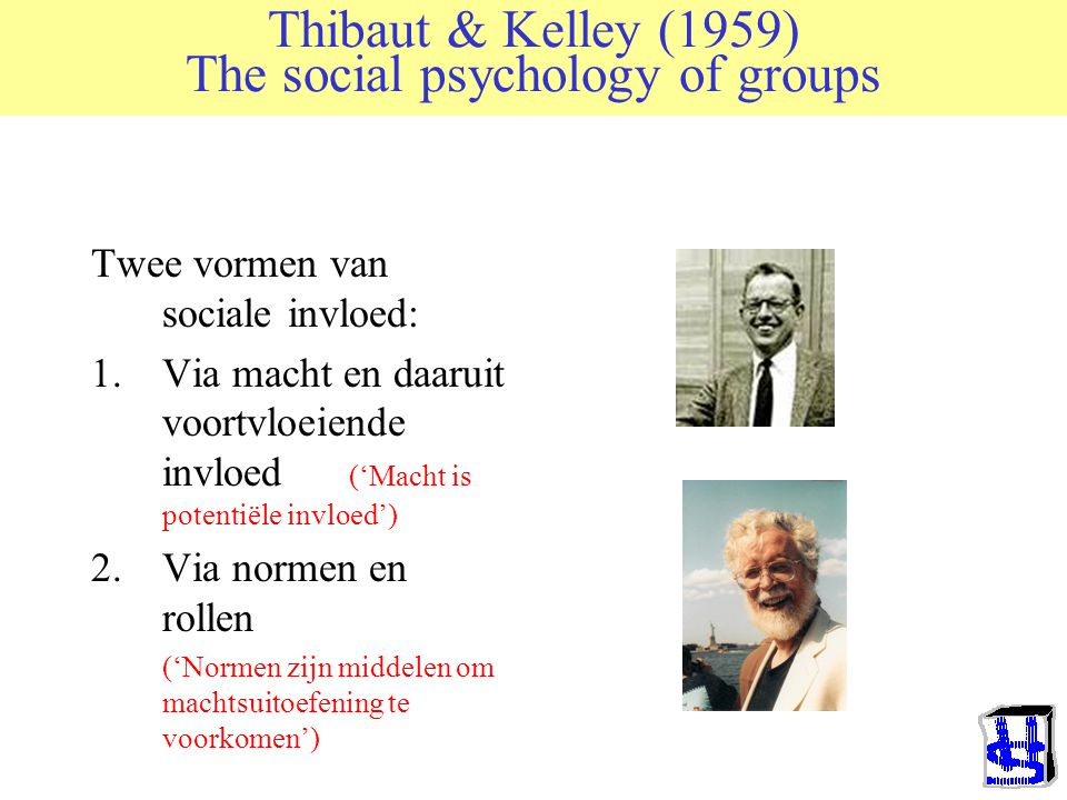 Thibaut & Kelley (1959) The social psychology of groups Poging om met behulp van rationele analyse (vnl ruiltheorie) sociale processen te modelleren.