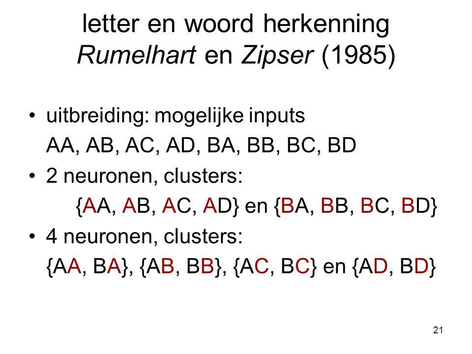 21 letter en woord herkenning Rumelhart en Zipser (1985) uitbreiding: mogelijke inputs AA, AB, AC, AD, BA, BB, BC, BD 2 neuronen, clusters: {AA, AB, AC, AD} en {BA, BB, BC, BD} 4 neuronen, clusters: {AA, BA}, {AB, BB}, {AC, BC} en {AD, BD}