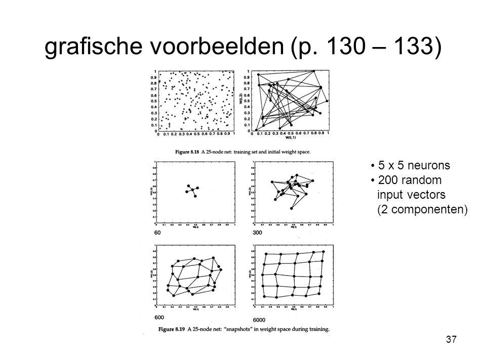 37 grafische voorbeelden (p. 130 – 133) 5 x 5 neurons 200 random input vectors (2 componenten)