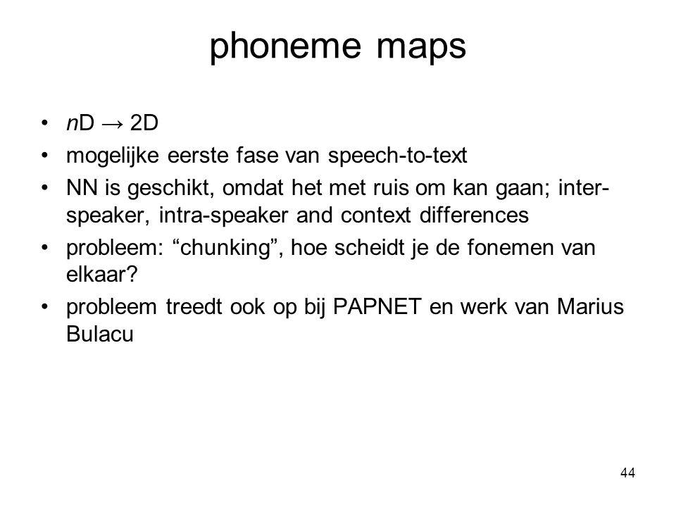 44 phoneme maps nD → 2D mogelijke eerste fase van speech-to-text NN is geschikt, omdat het met ruis om kan gaan; inter- speaker, intra-speaker and context differences probleem: chunking , hoe scheidt je de fonemen van elkaar.