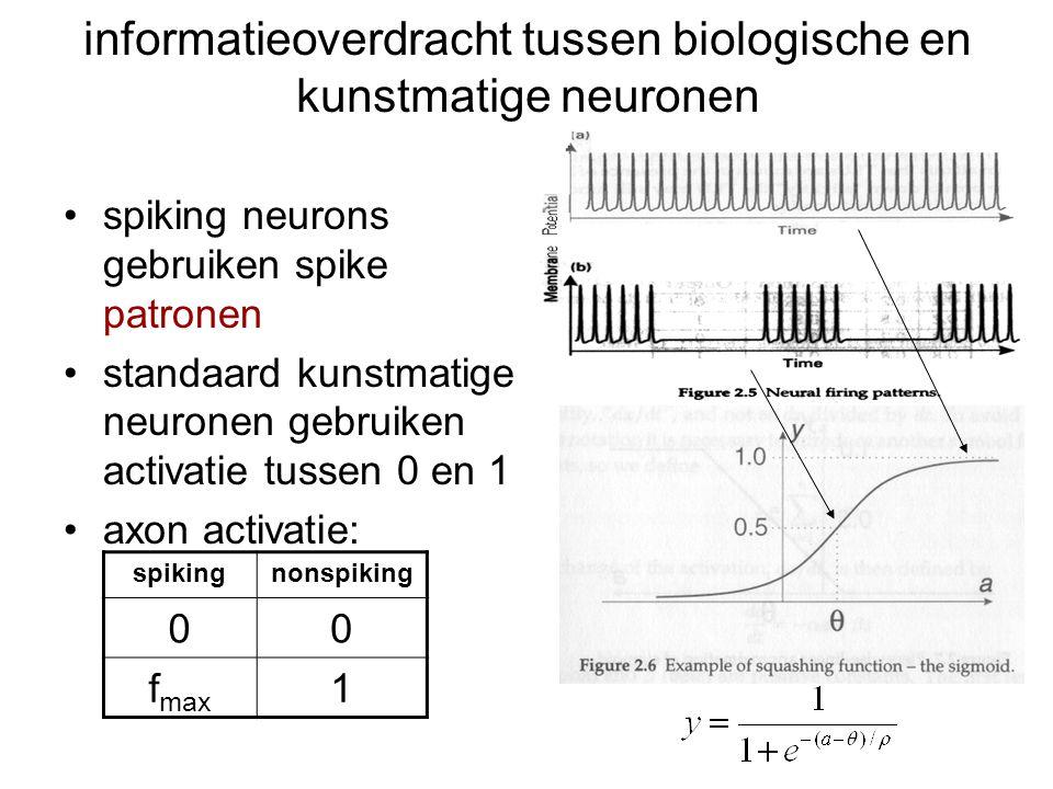 PSPs vs actiepotentialen gradedvsall-or-nothing EPSPs, IPSPsvsspike trains integrate-and-fire (spike 1-2 ms) informatie in aantal spikes en de timing van losse spikes (relative/absolute) refractory period (10 ms) beperkt vuurfrequentie