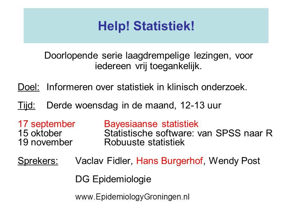 Help.Statistiek. Doel:Informeren over statistiek in klinisch onderzoek.