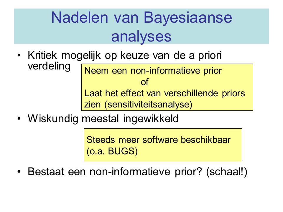 """Voordelen Bayesiaanse statistiek Interpretatie van de a posteriori verdeling (kansverdeling van de parameter(s)) eenvoudiger dan """"dubbele ontkenning"""""""