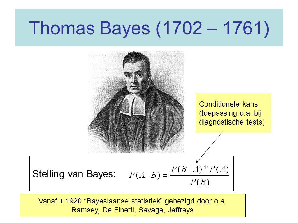 Thomas Bayes (1702 – 1761) Stelling van Bayes: Vanaf ± 1920 Bayesiaanse statistiek gebezigd door o.a.