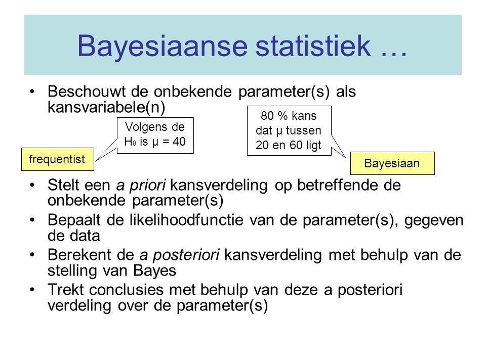 Bayesiaanse statistiek … Beschouwt de onbekende parameter(s) als kansvariabele(n) Stelt een a priori kansverdeling op betreffende de onbekende parameter(s) Bepaalt de likelihoodfunctie van de parameter(s), gegeven de data Berekent de a posteriori kansverdeling met behulp van de stelling van Bayes Trekt conclusies met behulp van deze a posteriori verdeling over de parameter(s) Volgens de H 0 is µ = 40 frequentist 80 % kans dat µ tussen 20 en 60 ligt Bayesiaan