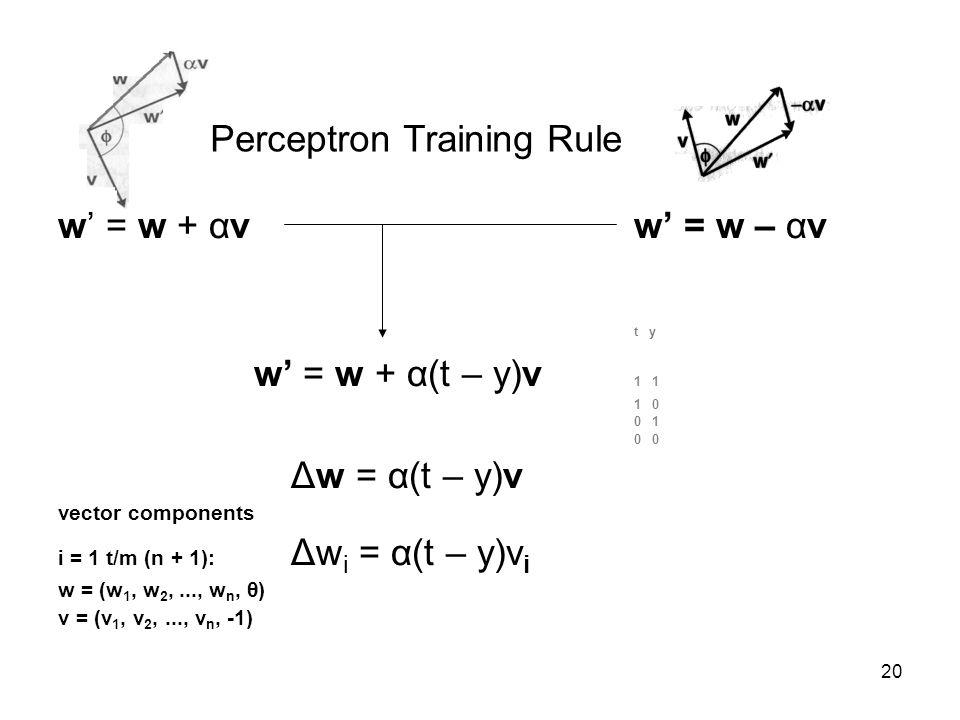 20 w' = w + αvw' = w – αv t y w' = w + α(t – y)v 1 1 1 0 0 1 0 Δw = α(t – y)v vector components i = 1 t/m (n + 1): Δw i = α(t – y)v i w = (w 1, w 2,..., w n, θ) v = (v 1, v 2,..., v n, -1) Perceptron Training Rule