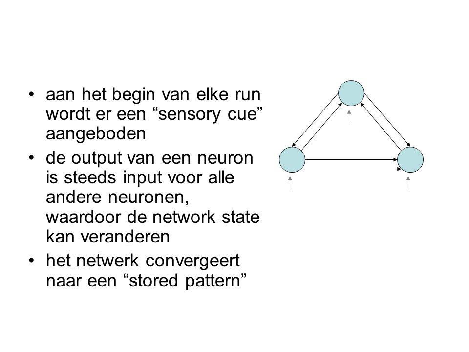 """aan het begin van elke run wordt er een """"sensory cue"""" aangeboden de output van een neuron is steeds input voor alle andere neuronen, waardoor de netwo"""