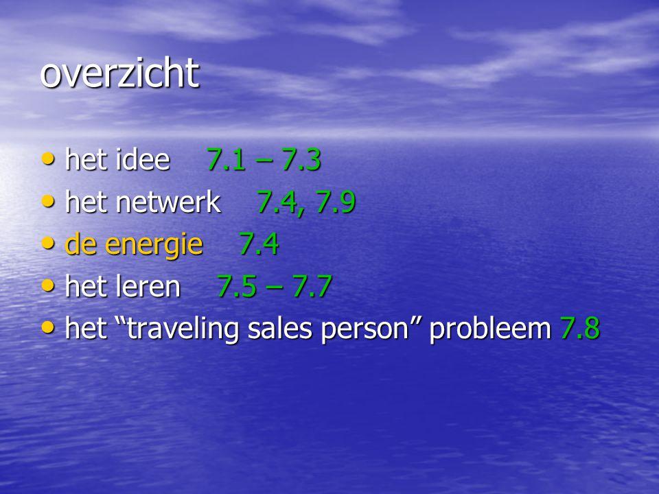overzicht het idee 7.1 – 7.3 het idee 7.1 – 7.3 het netwerk 7.4, 7.9 het netwerk 7.4, 7.9 de energie 7.4 de energie 7.4 het leren 7.5 – 7.7 het leren