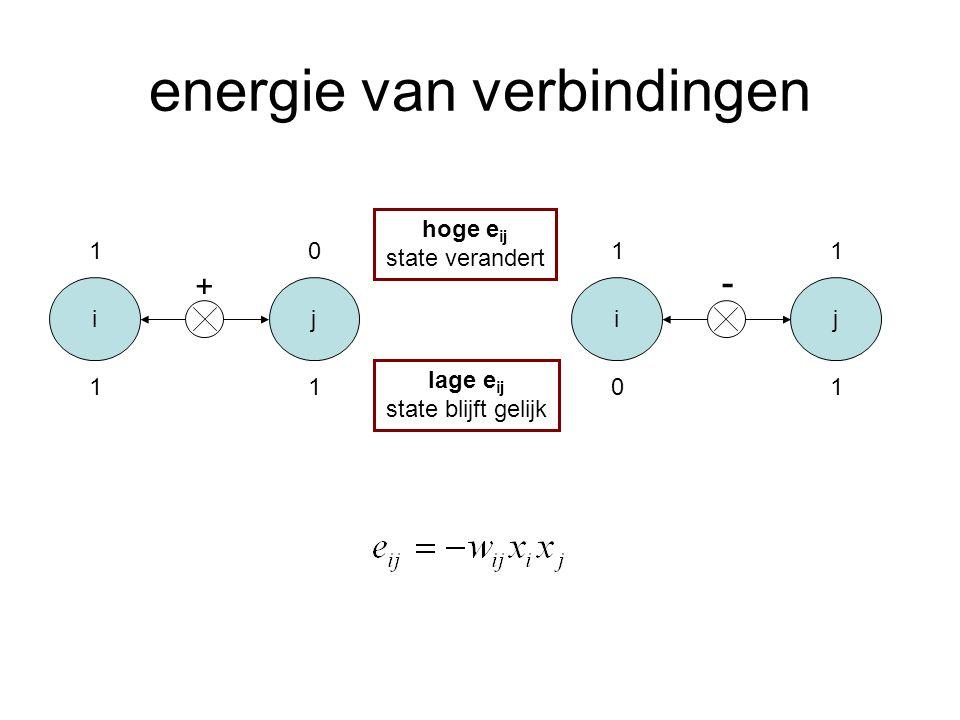 energie van verbindingen ij 1 11 0 + ij 1 01 1 - hoge e ij state verandert lage e ij state blijft gelijk