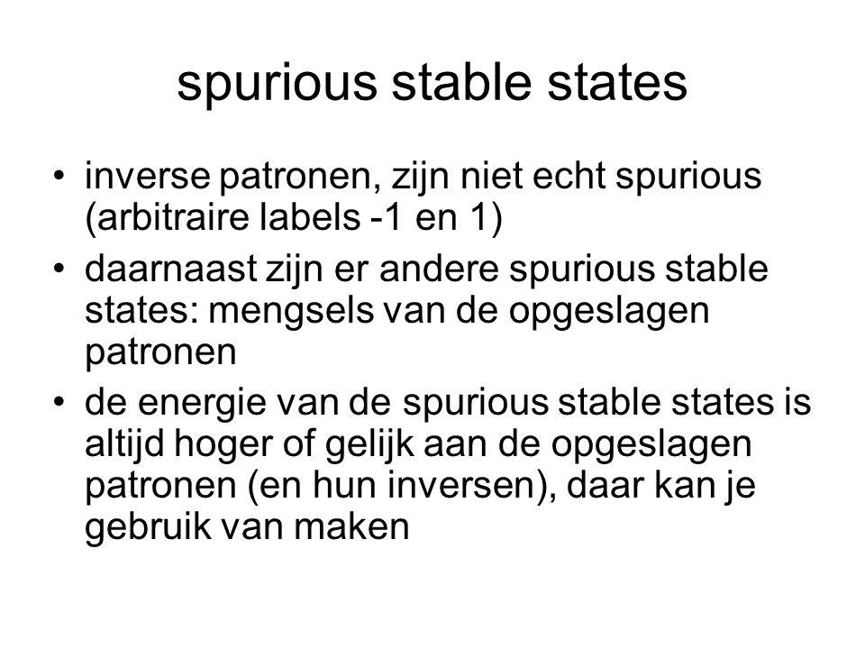 spurious stable states inverse patronen, zijn niet echt spurious (arbitraire labels -1 en 1) daarnaast zijn er andere spurious stable states: mengsels