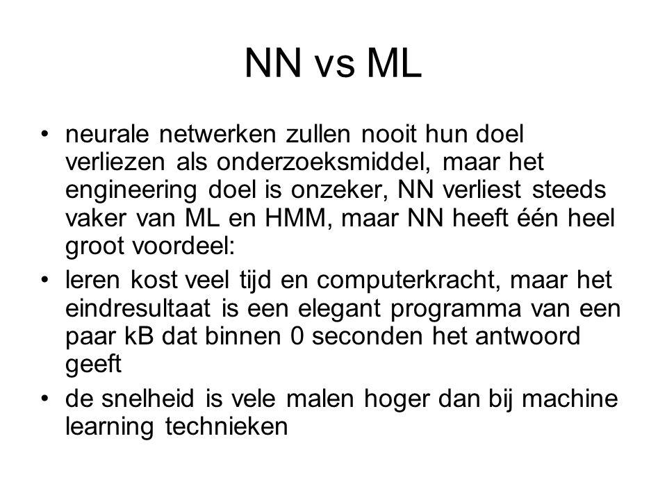 NN vs ML neurale netwerken zullen nooit hun doel verliezen als onderzoeksmiddel, maar het engineering doel is onzeker, NN verliest steeds vaker van ML
