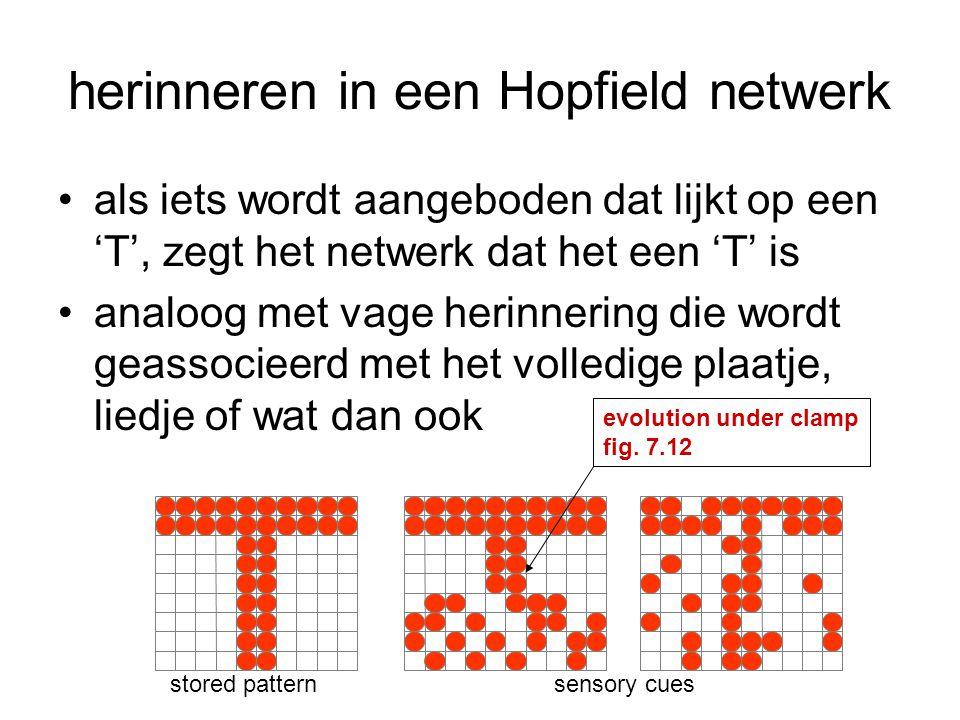 herinneren in een Hopfield netwerk als iets wordt aangeboden dat lijkt op een 'T', zegt het netwerk dat het een 'T' is analoog met vage herinnering di