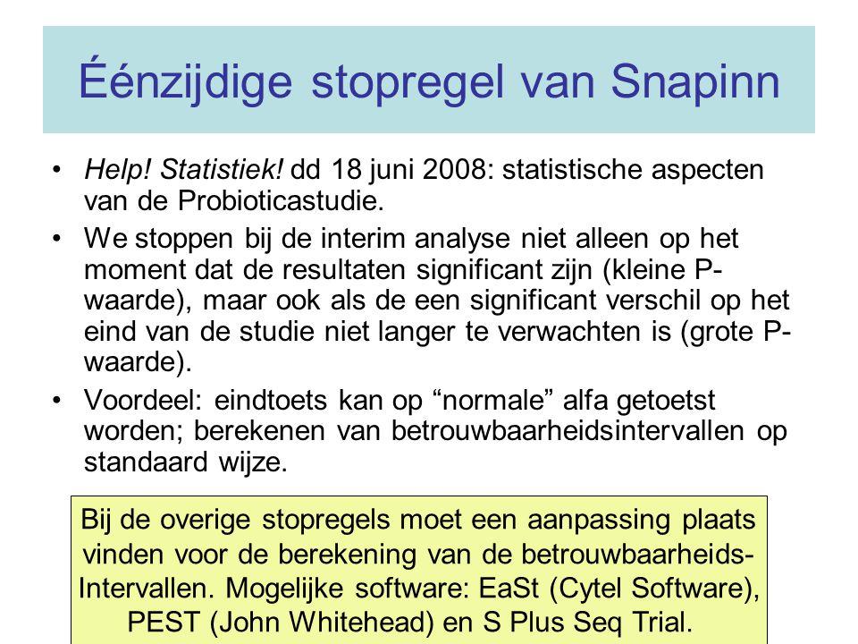 Éénzijdige stopregel van Snapinn Help! Statistiek! dd 18 juni 2008: statistische aspecten van de Probioticastudie. We stoppen bij de interim analyse n