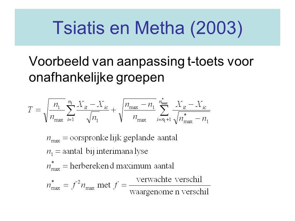 Tsiatis en Metha (2003) Voorbeeld van aanpassing t-toets voor onafhankelijke groepen