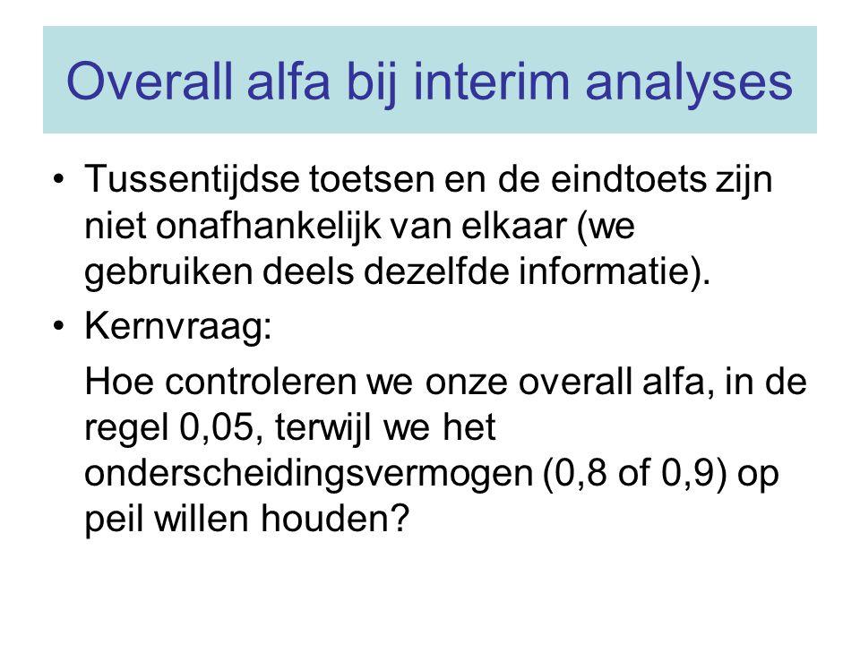 Overall alfa bij interim analyses Tussentijdse toetsen en de eindtoets zijn niet onafhankelijk van elkaar (we gebruiken deels dezelfde informatie). Ke