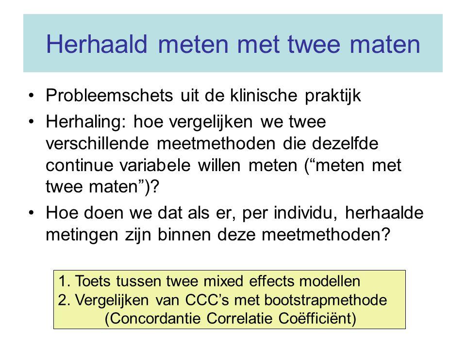 Herhaald meten met twee maten Probleemschets uit de klinische praktijk Herhaling: hoe vergelijken we twee verschillende meetmethoden die dezelfde cont