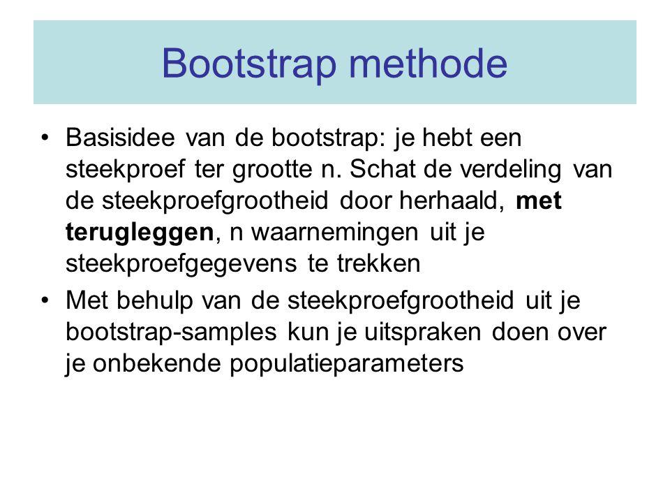 Bootstrap methode Basisidee van de bootstrap: je hebt een steekproef ter grootte n. Schat de verdeling van de steekproefgrootheid door herhaald, met t