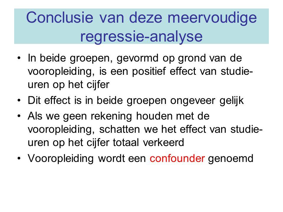 Conclusie van deze meervoudige regressie-analyse In beide groepen, gevormd op grond van de vooropleiding, is een positief effect van studie- uren op h