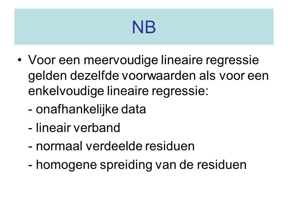 NB Voor een meervoudige lineaire regressie gelden dezelfde voorwaarden als voor een enkelvoudige lineaire regressie: - onafhankelijke data - lineair v