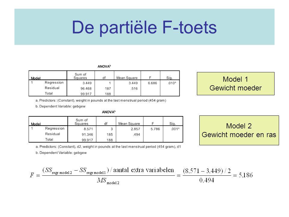 De partiële F-toets Model 1 Gewicht moeder Model 2 Gewicht moeder en ras