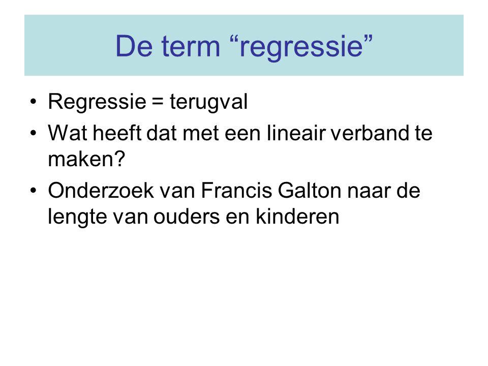 """De term """"regressie"""" Regressie = terugval Wat heeft dat met een lineair verband te maken? Onderzoek van Francis Galton naar de lengte van ouders en kin"""