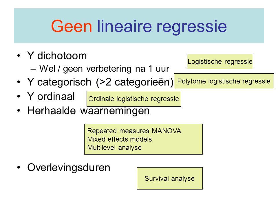 Geen lineaire regressie Y dichotoom –Wel / geen verbetering na 1 uur Y categorisch (>2 categorieën) Y ordinaal Herhaalde waarnemingen Overlevingsduren