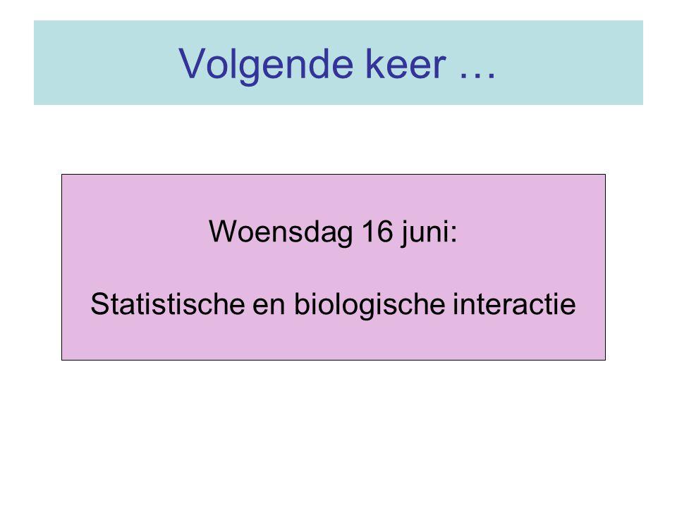 Volgende keer … Woensdag 16 juni: Statistische en biologische interactie