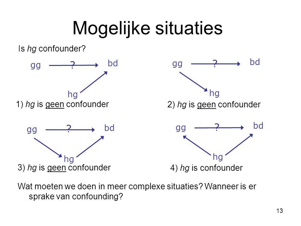 13 Mogelijke situaties 1) hg is geen confounder hg bd gg hg bd gg hg bd gg Wat moeten we doen in meer complexe situaties.