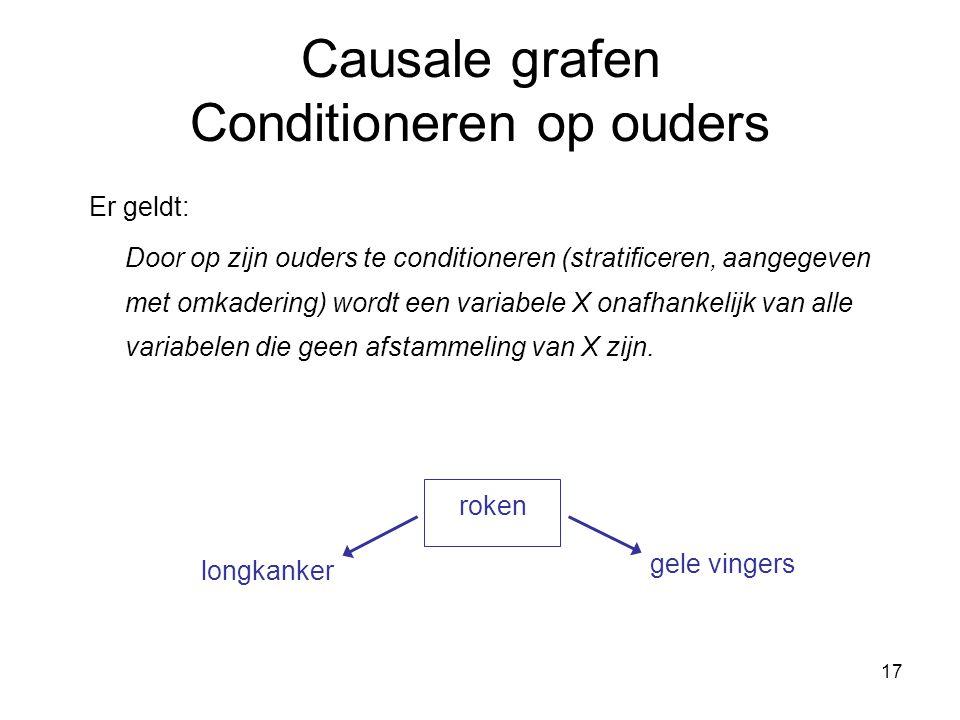 17 Causale grafen Conditioneren op ouders Er geldt: Door op zijn ouders te conditioneren (stratificeren, aangegeven met omkadering) wordt een variabele X onafhankelijk van alle variabelen die geen afstammeling van X zijn.
