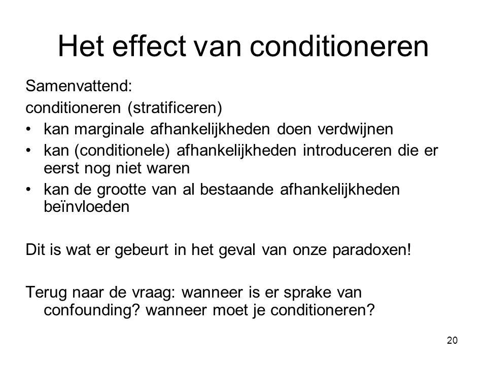 20 Het effect van conditioneren Samenvattend: conditioneren (stratificeren) kan marginale afhankelijkheden doen verdwijnen kan (conditionele) afhankel