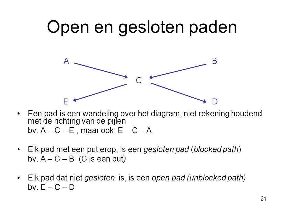 21 Open en gesloten paden Een pad is een wandeling over het diagram, niet rekening houdend met de richting van de pijlen bv. A – C – E, maar ook: E –