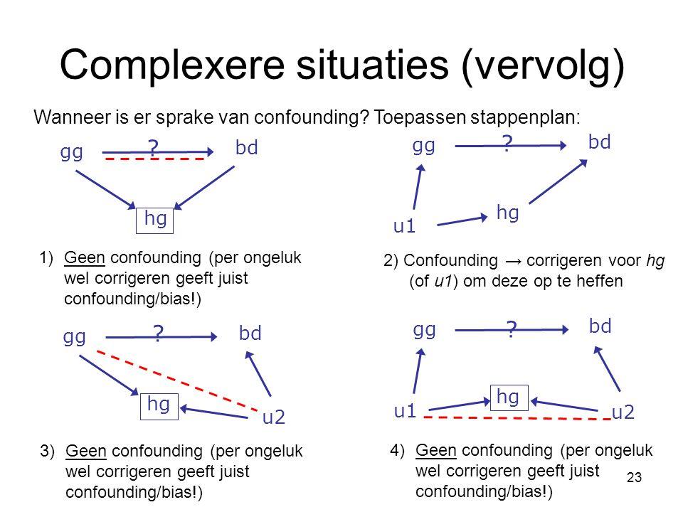 23 Complexere situaties (vervolg) 3) Geen confounding (per ongeluk wel corrigeren geeft juist confounding/bias!) 4) Geen confounding (per ongeluk wel corrigeren geeft juist confounding/bias!) Wanneer is er sprake van confounding.