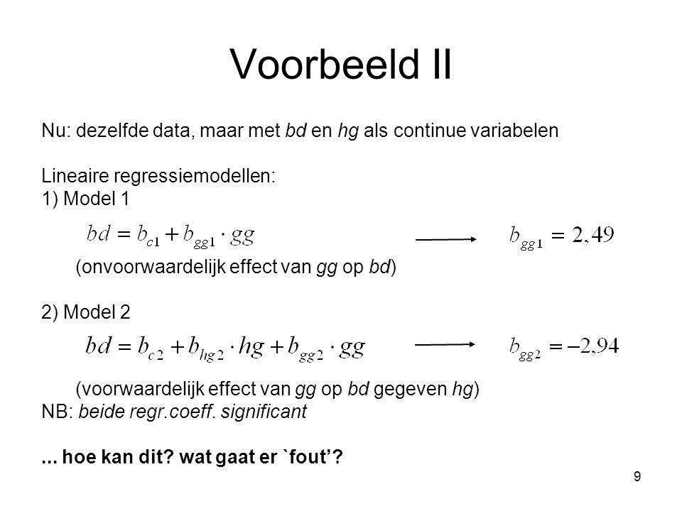 9 Voorbeeld II Nu: dezelfde data, maar met bd en hg als continue variabelen Lineaire regressiemodellen: 1) Model 1 (onvoorwaardelijk effect van gg op bd) 2) Model 2 (voorwaardelijk effect van gg op bd gegeven hg) NB: beide regr.coeff.