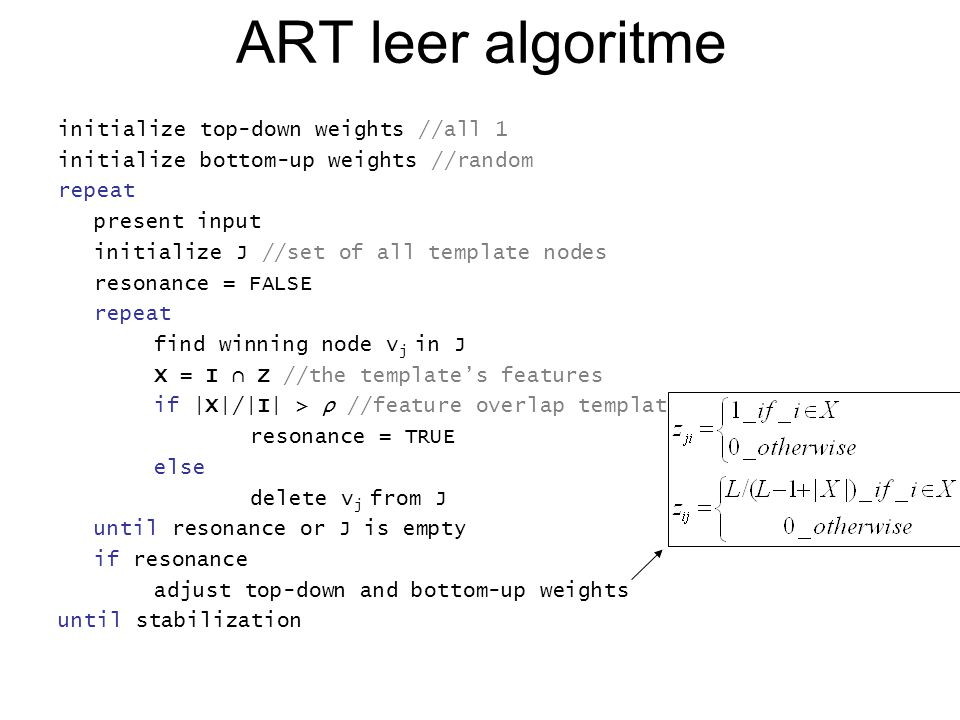ART leer algoritme initialize top-down weights //all 1 initialize bottom-up weights //random repeat present input initialize J //set of all template nodes resonance = FALSE repeat find winning node v j in J X = I ∩ Z //the template's features if |X|/|I| > ρ //feature overlap template and pattern resonance = TRUE else delete v j from J until resonance or J is empty if resonance adjust top-down and bottom-up weights until stabilization
