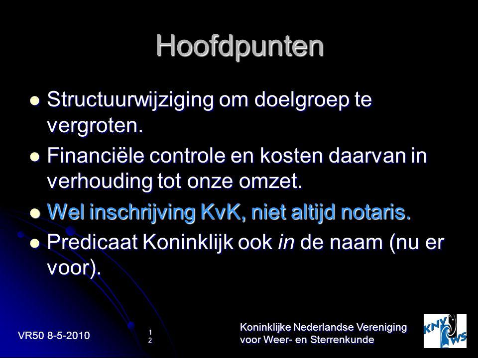 VR50 8-5-2010 Koninklijke Nederlandse Vereniging voor Weer- en Sterrenkunde 12 Hoofdpunten Structuurwijziging om doelgroep te vergroten. Structuurwijz