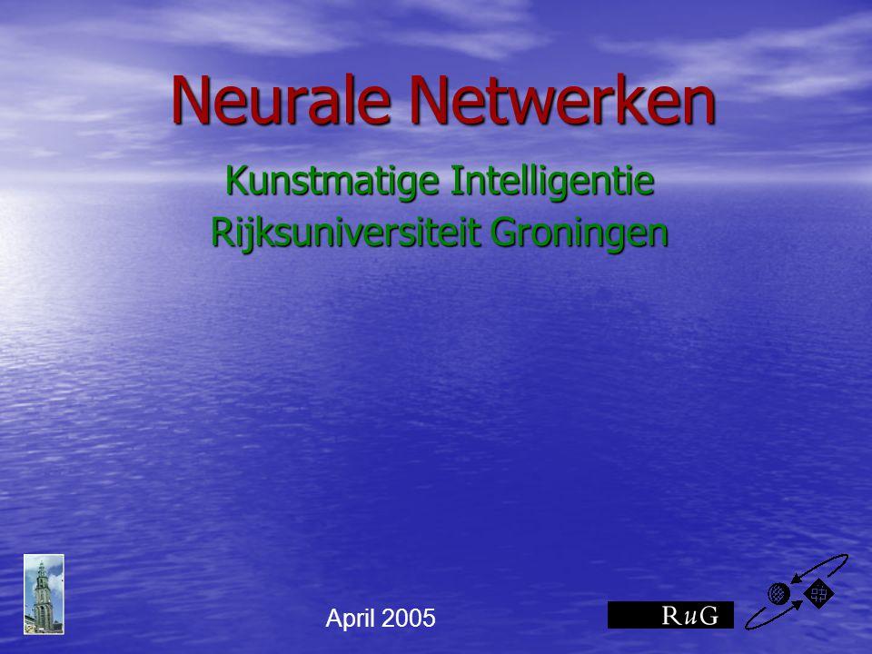 Neurale Netwerken Kunstmatige Intelligentie Rijksuniversiteit Groningen April 2005