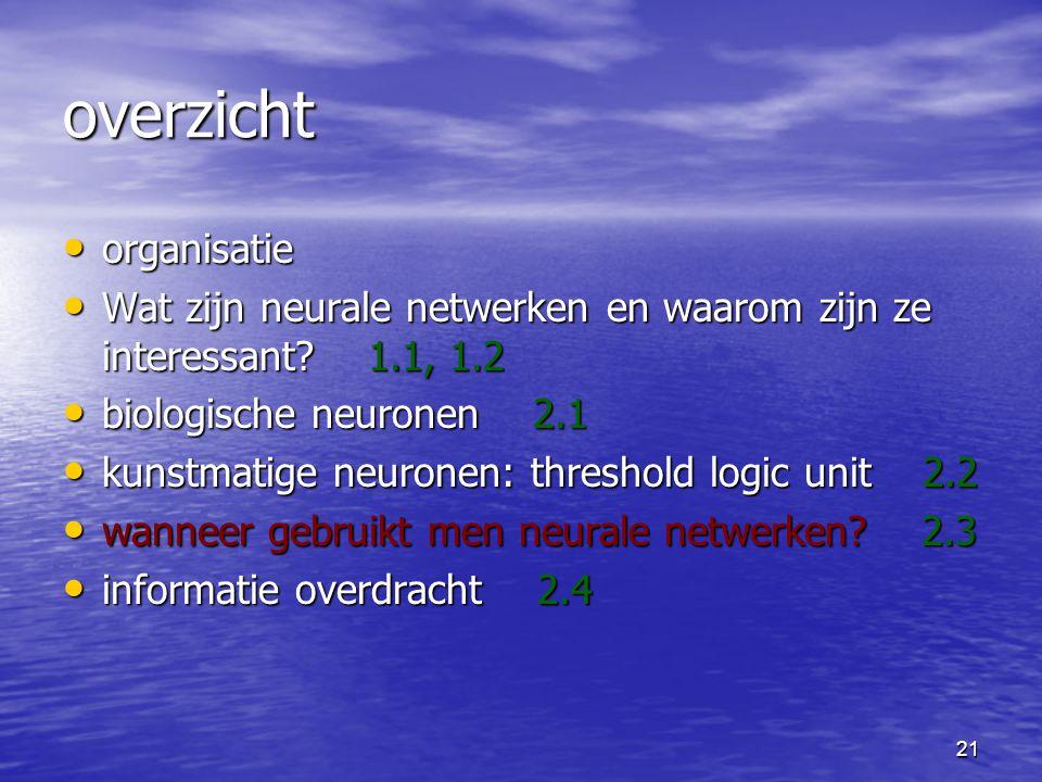 21 overzicht organisatie organisatie Wat zijn neurale netwerken en waarom zijn ze interessant.