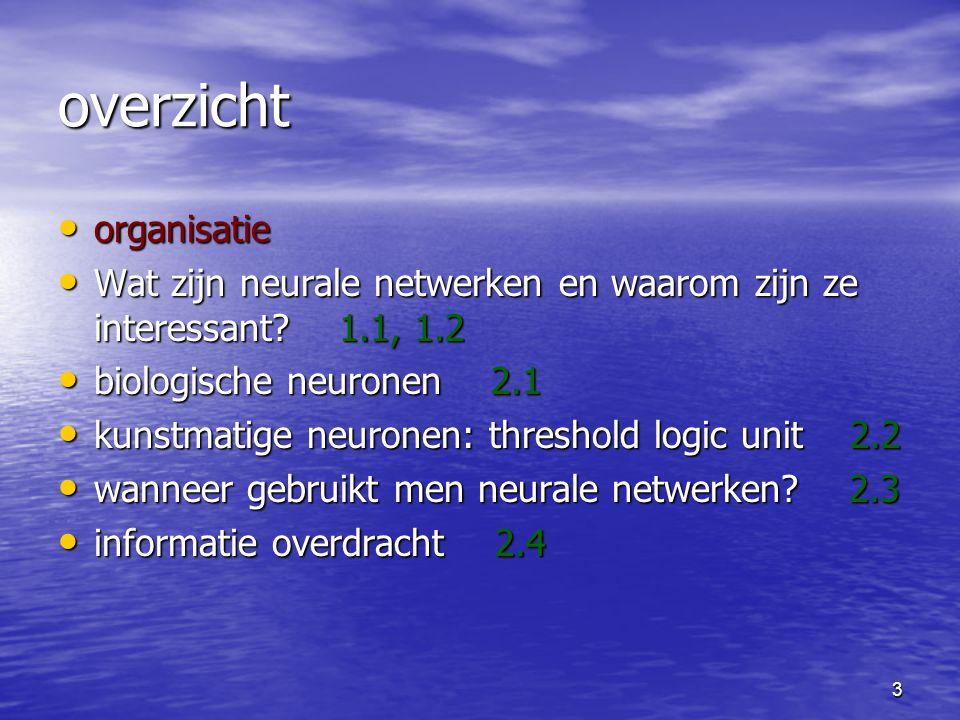4 organisatie boek An Introduction to Neural Networks door Kevin Gurney vandaag H1 en H2 (behalve 2.5) practicumhandleiding website - docenten - weekschema - inhoud - toetsing en cijfers - collegesheets - practicum