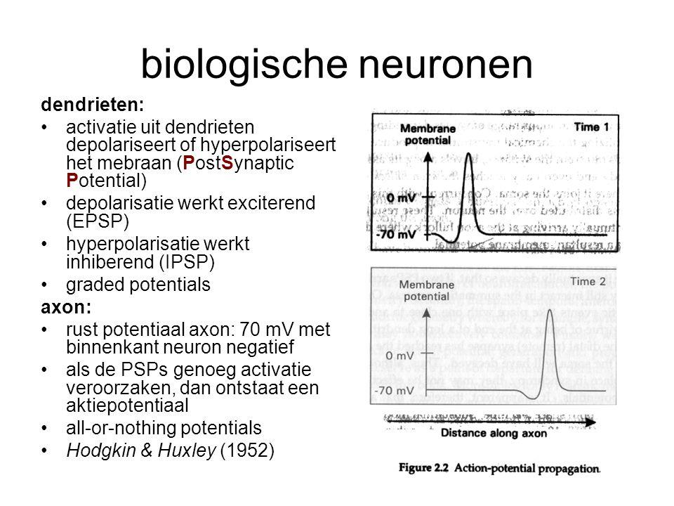 9 biologische neuronen dendrieten: activatie uit dendrieten depolariseert of hyperpolariseert het mebraan (PostSynaptic Potential) depolarisatie werkt exciterend (EPSP) hyperpolarisatie werkt inhiberend (IPSP) graded potentials axon: rust potentiaal axon: 70 mV met binnenkant neuron negatief als de PSPs genoeg activatie veroorzaken, dan ontstaat een aktiepotentiaal all-or-nothing potentials Hodgkin & Huxley (1952)