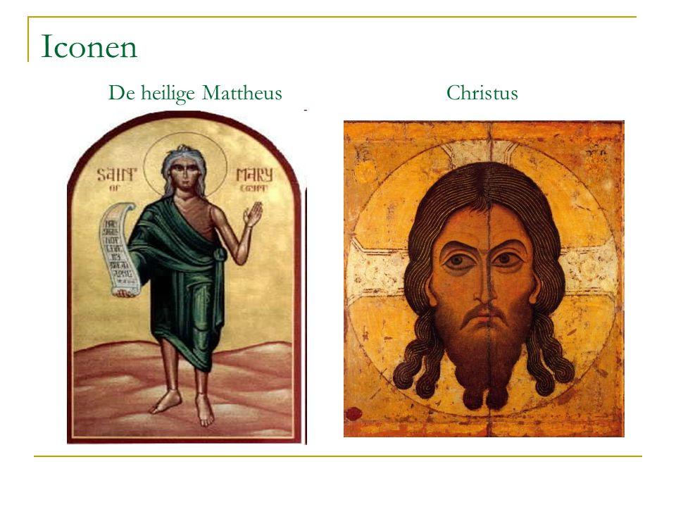 Iconen De heilige Mattheus Christus