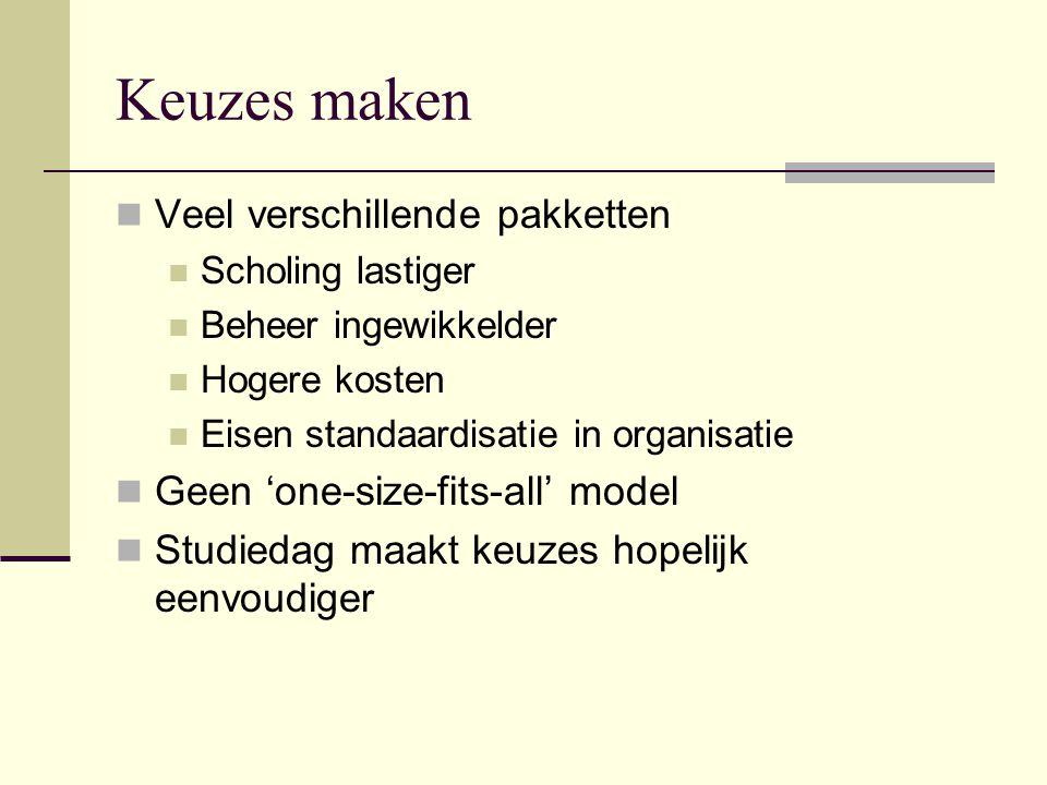 Keuzes maken Veel verschillende pakketten Scholing lastiger Beheer ingewikkelder Hogere kosten Eisen standaardisatie in organisatie Geen 'one-size-fits-all' model Studiedag maakt keuzes hopelijk eenvoudiger