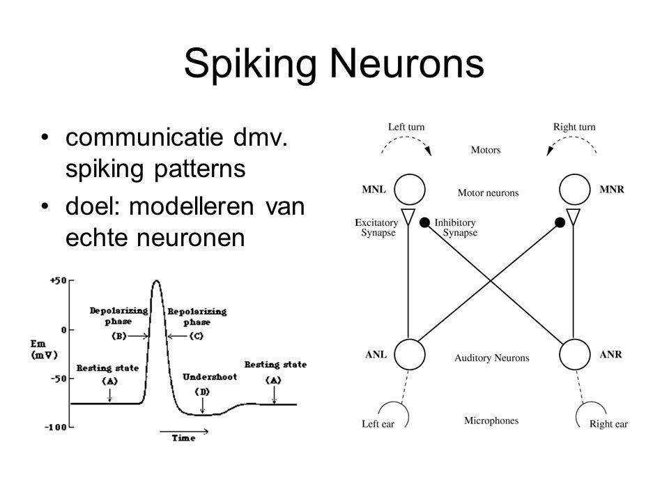 Spiking Neurons communicatie dmv. spiking patterns doel: modelleren van echte neuronen