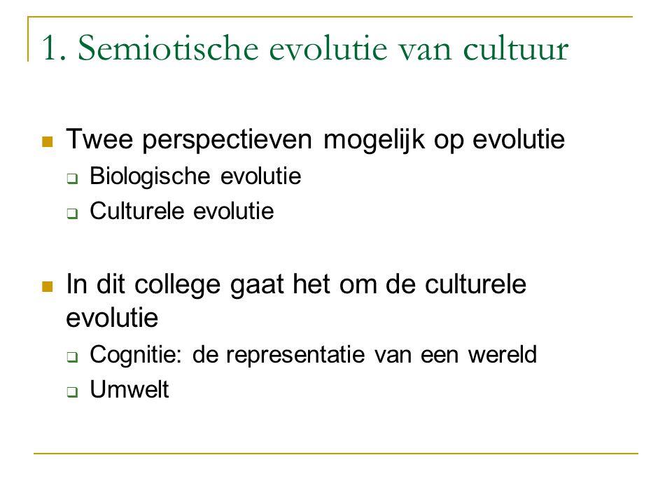 1. Semiotische evolutie van cultuur Twee perspectieven mogelijk op evolutie  Biologische evolutie  Culturele evolutie In dit college gaat het om de