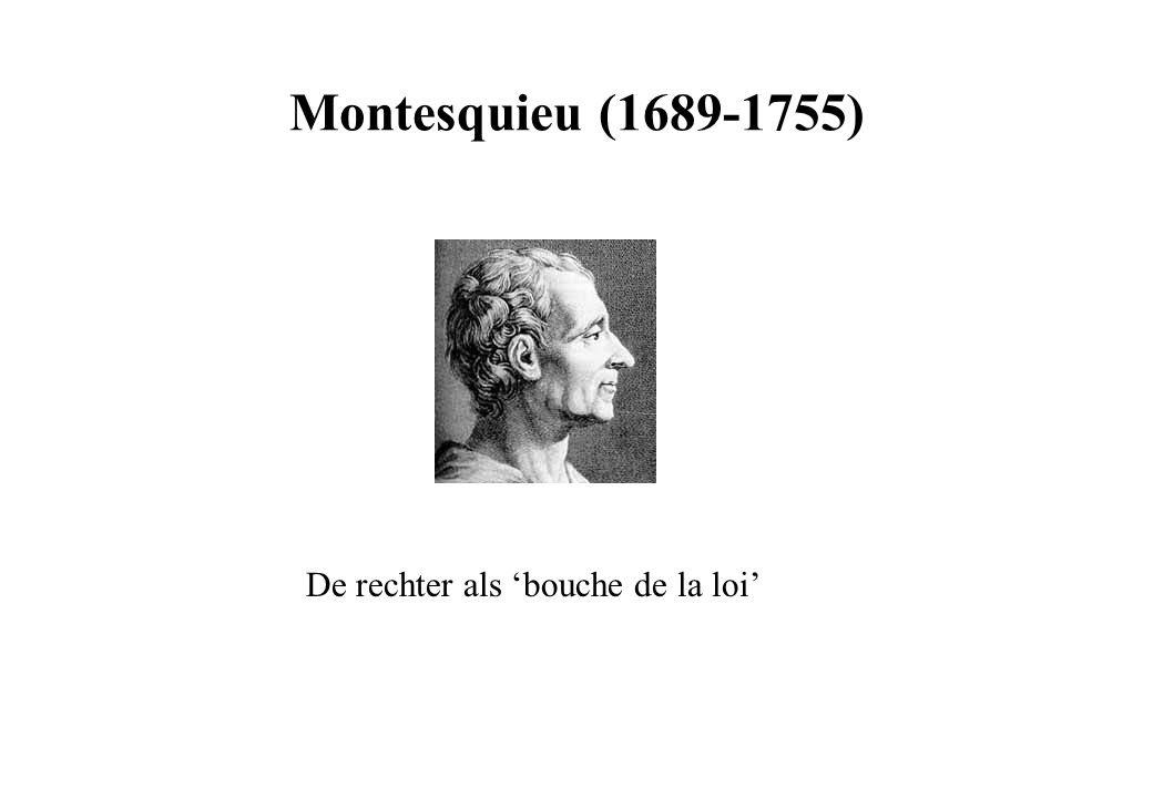 Montesquieu (1689-1755) De rechter als 'bouche de la loi'