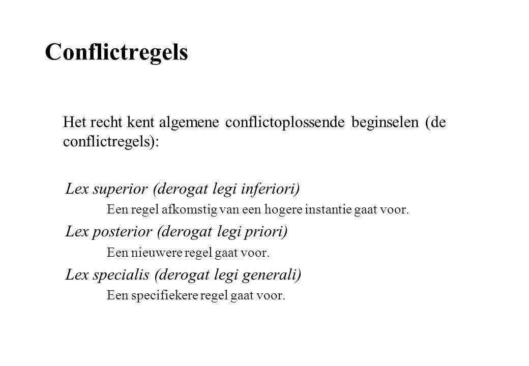 Conflictregels Het recht kent algemene conflictoplossende beginselen (de conflictregels): Lex superior (derogat legi inferiori) Een regel afkomstig van een hogere instantie gaat voor.