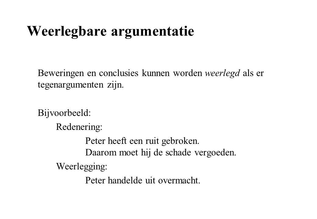 Weerlegbare argumentatie Beweringen en conclusies kunnen worden weerlegd als er tegenargumenten zijn. Bijvoorbeeld: Redenering: Peter heeft een ruit g