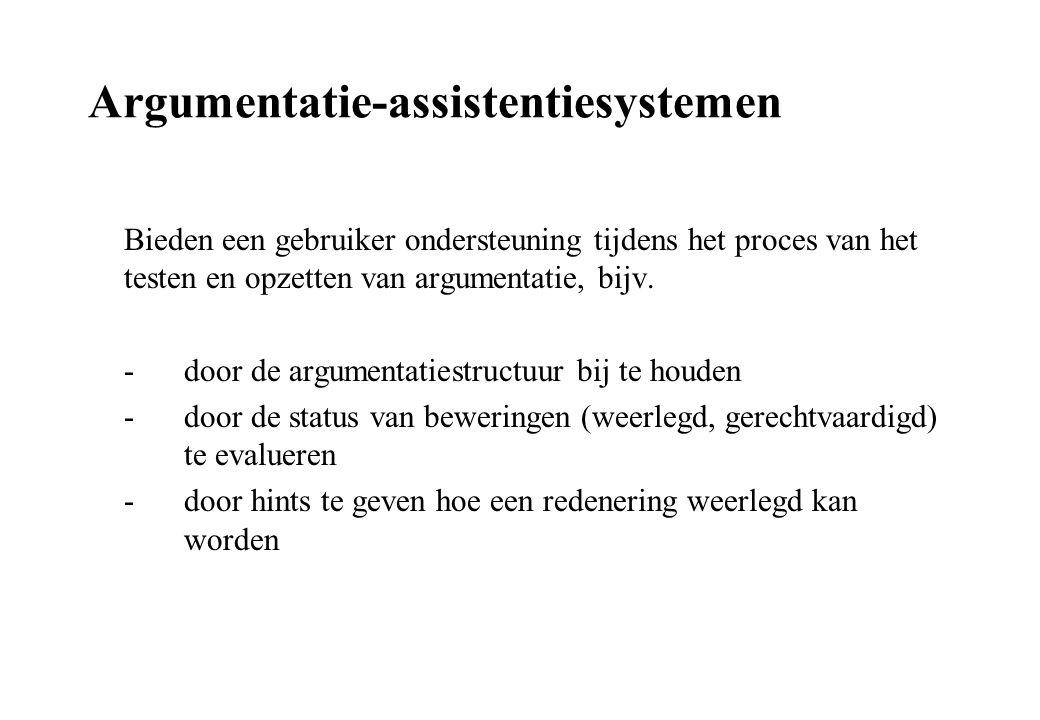 Argumentatie-assistentiesystemen Bieden een gebruiker ondersteuning tijdens het proces van het testen en opzetten van argumentatie, bijv. - door de ar